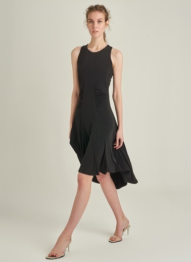 Ng Style Halter Yaka Volanlı Elbise Siyah